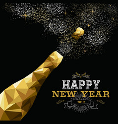Happy new year 2019 champagne bottle low poly gold vector