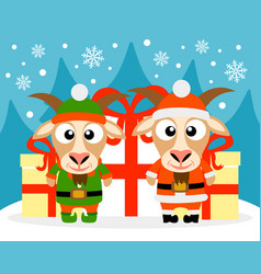 Happy new year card with goat santa claus and goat vector