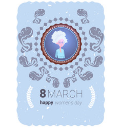 happy women day greeting card with cute vector image