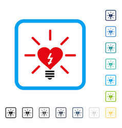 Heart electric bulb framed icon vector