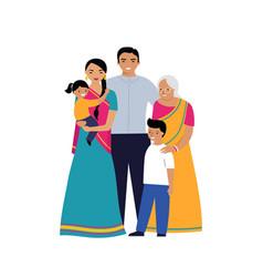 Indian family three generations family set vector