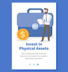 Invest in physical assets concept man with vector