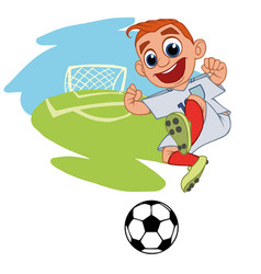 joyful boy playing football vector image