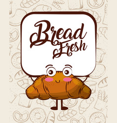 kawaii bread fresh croissant cartoon bake vector image