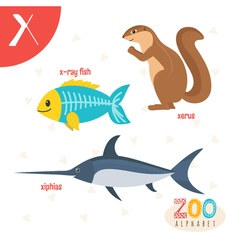 Letter X Cute animals Funny cartoon animals in vector image