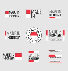made in indonesia icon set product labels vector image