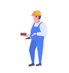 man builder holding trowel and wall brick guy vector image