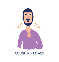 Man holding his chest having coughing attack flat vector