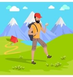 Mountain Tourism Concept vector