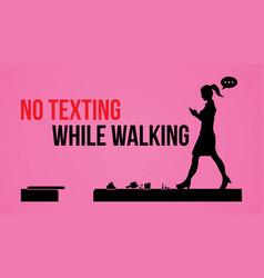 No texting while walking vector