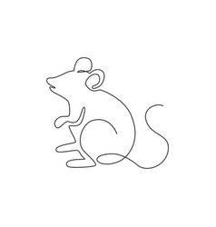one continuous line drawing cute standing vector image