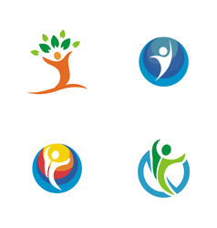 people abstract logo vector image