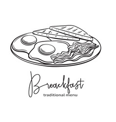 Plate of breakfast with fried eggs vector