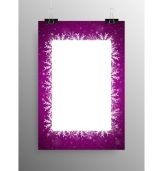 Poster Frame Falling Snow Purple Background vector