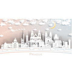 prague czech republic city skyline in paper cut vector image