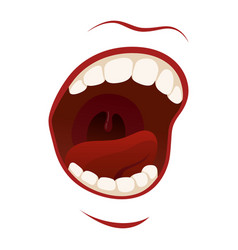 scream mouth with teeth in a shout vector image