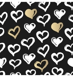 Seamless heart pattern Hand drawn with ink Black vector image