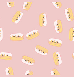 seamless pattern with kawaii pies vector image