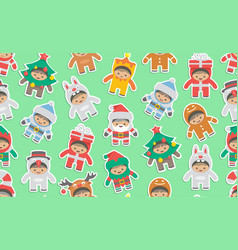 seamless pattern with kids in christmas costumes vector image