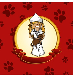 Service vet doctor girl cartoon label icon vector