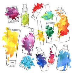 Set of cosmetics bottles vector