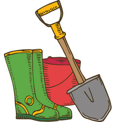 shovel gumboots and bucket vector image