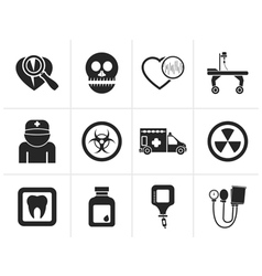 Silhouette Medicine and hospital equipment icons vector