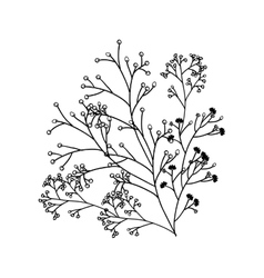 Silhouette of branches with flowers vector