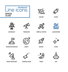 space concept - line design icons set vector image