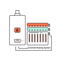 The boiler and the radiators connected vector