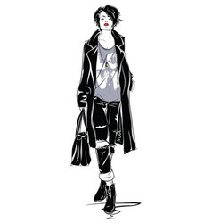 The fashion girl in sketch style vector