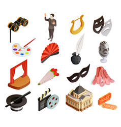 Theatre elements icon set vector