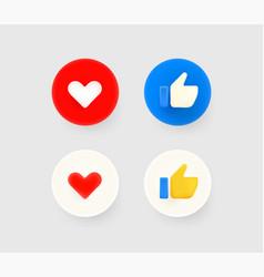 Thumb up and heart social media reaction 3d vector