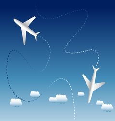 Two airplanes and clouds vector