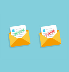 two envelope with approved and rejected letters vector image