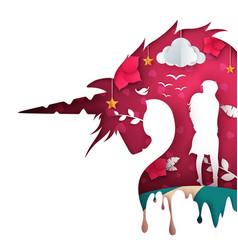 unicorn paper castle paper landscape vector image