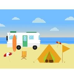 Vintage camping concept Retro caravan motorhome vector