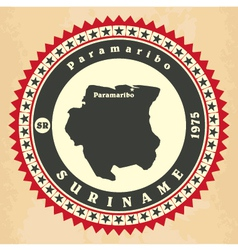 Vintage label-sticker cards of Suriname vector
