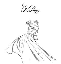 wedding couple line art lovely couple hugs vector image