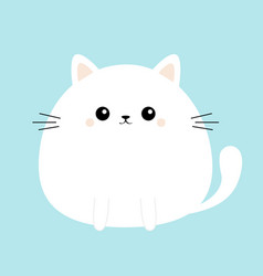 white cat kitty kitten icon funny head face cute vector image