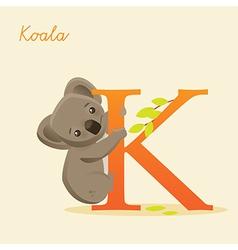 Animal alphabet with koala vector image