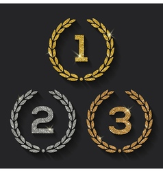 Awards glitter golden emblems vector image