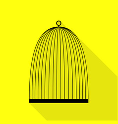 bird cage sign black icon with flat style shadow vector image
