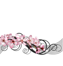 Blossoming sakura cherry branch with pink flowers vector