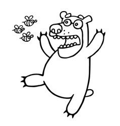 cartoon bear was afraid of angry bees vector image