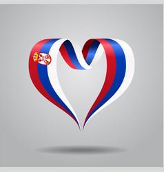 serbian flag heart-shaped ribbon vector image vector image
