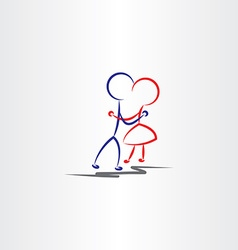 boy and girl hugging in love icon vector image vector image