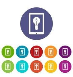 Idea lamp on gadget screen set icons vector image