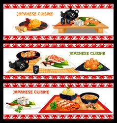 japanese seafood dishes banner set menu design vector image vector image