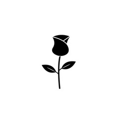 Rose flower for valentines day solid icon vector